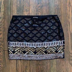 Sequence Printed Mini Skirt
